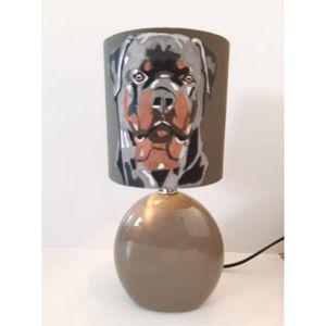 De Chevet Ceramique Lampe Rottweiler Pied Chien wOnk0P