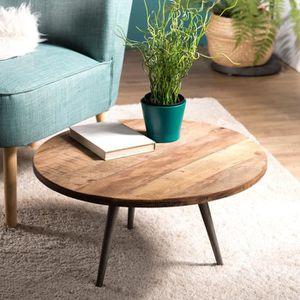 TABLE BASSE Table basse ronde 55 cm en teck recyclé et pieds m