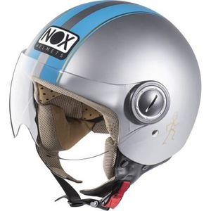 CASQUE MOTO SCOOTER CASQUE NOX JET N210 GRIS MAT BLEU