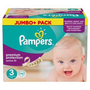 COUCHE Pampers Active Fit taille 3 Midi 4-9kg Jumbo Pack