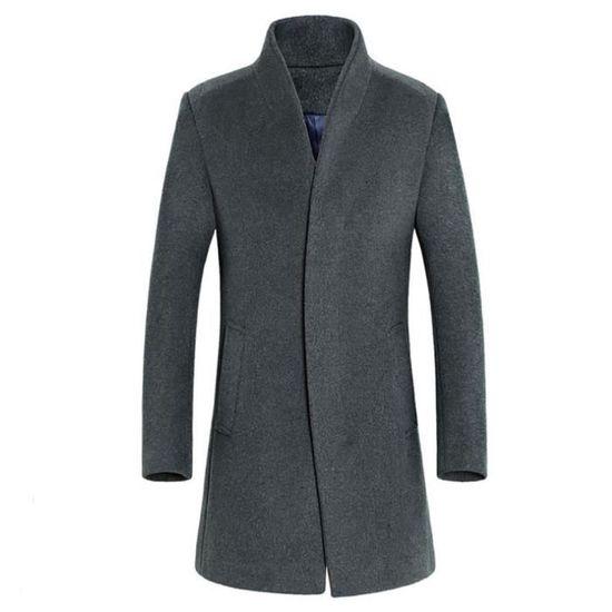 Hiver Homme Outwear Veste Button Chaud Pardessus Long Smart Trench gris Manteaux EC6qwf