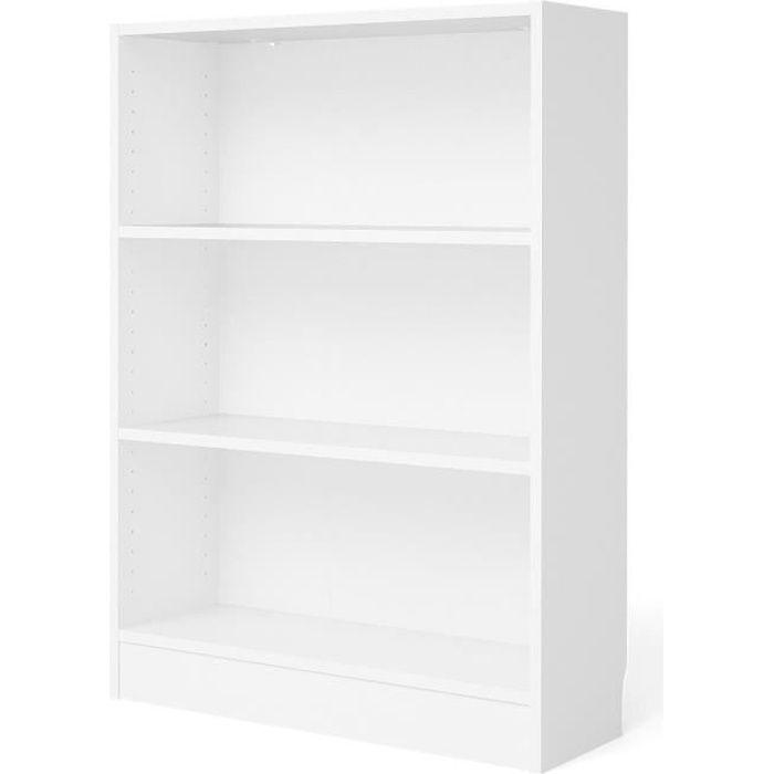 Panneaux de particules décor blanc - L 107,2 x P 26,72 x H 79 cm - 2 étagères - Fabrication européenneBIBLIOTHEQUE