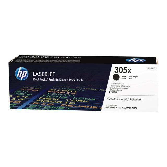 HP Cartouche de toner 305X - 4000 pages - Pack de 2 - Noir