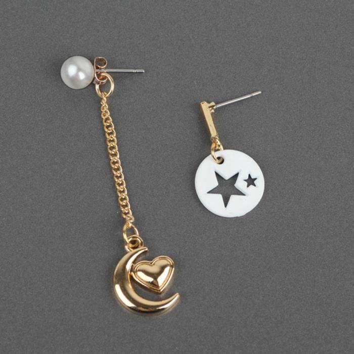 Frankmall®Mode femmes pendentif boucle d'oreille étoiles Lune combinaison goutte bijoux populaire#NYZ3992830