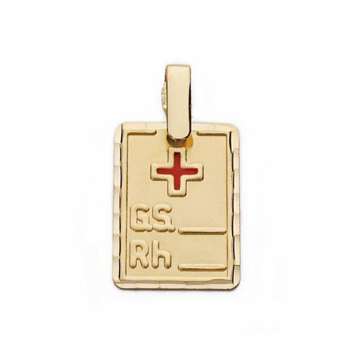 Pendentif 9k plaque or groupe sanguin de la croix rouge RH 16 mm. [AA2712GR]