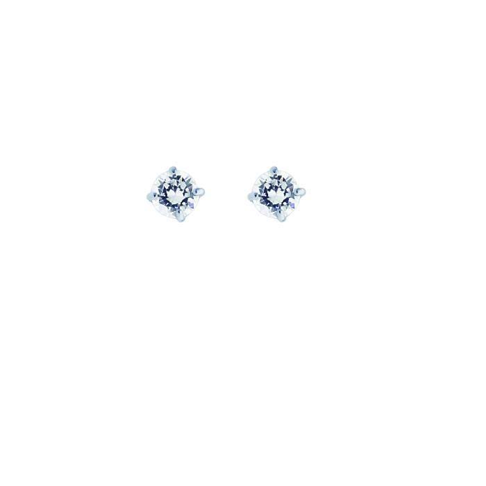 Or blanc 14 carats Boucles doreille à tige avec zircones cubiques