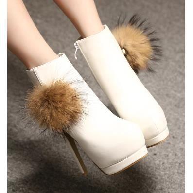 14cm avec bien avec fuzz discothèque sexy imperméables bottes de fourrure bottes de lapin, blanc 37