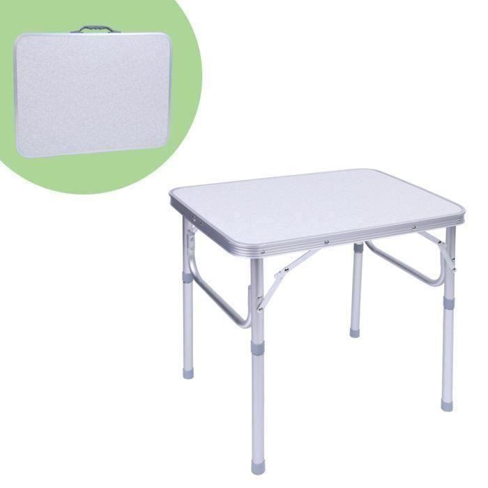 1X Table de Jardin Pliante Support Bureau Plateau en Alliage d\'Aluminium Pr  Camping Pique-Nique 60*45*58Cm S02CAB