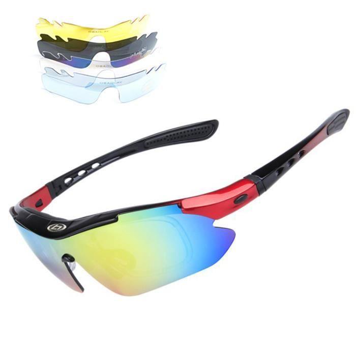 Lunettes de soleil sport polarisées avec 5 lentilles interchangeables cadre noir et rouge