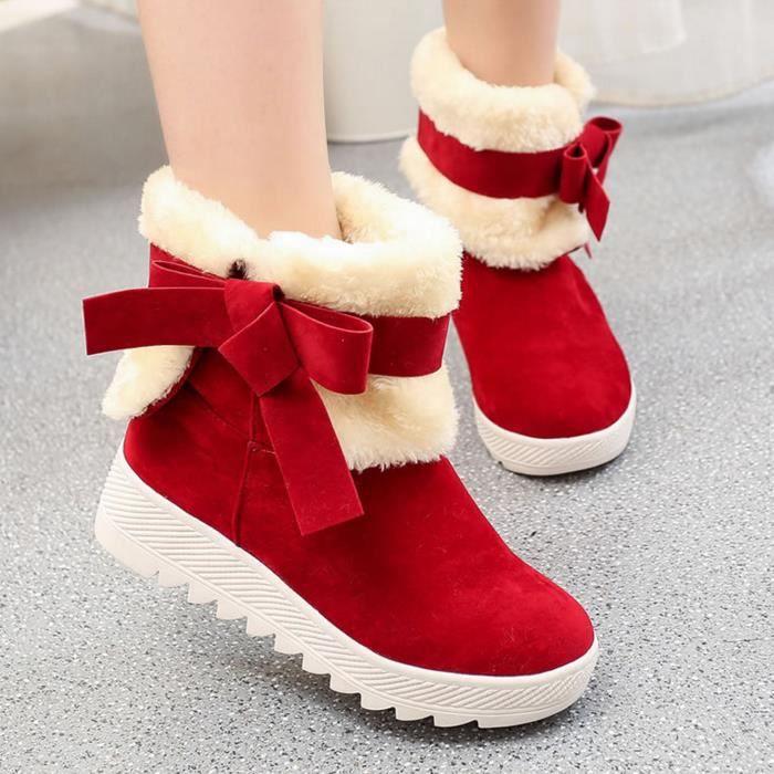 Bottes de femmes bottes de neige chaudes Rouge