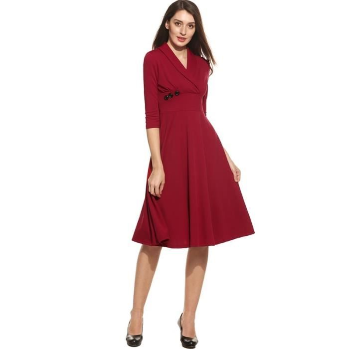 Robe Femmes manches décontractées 3/4 solide V Neck Swap robe pull