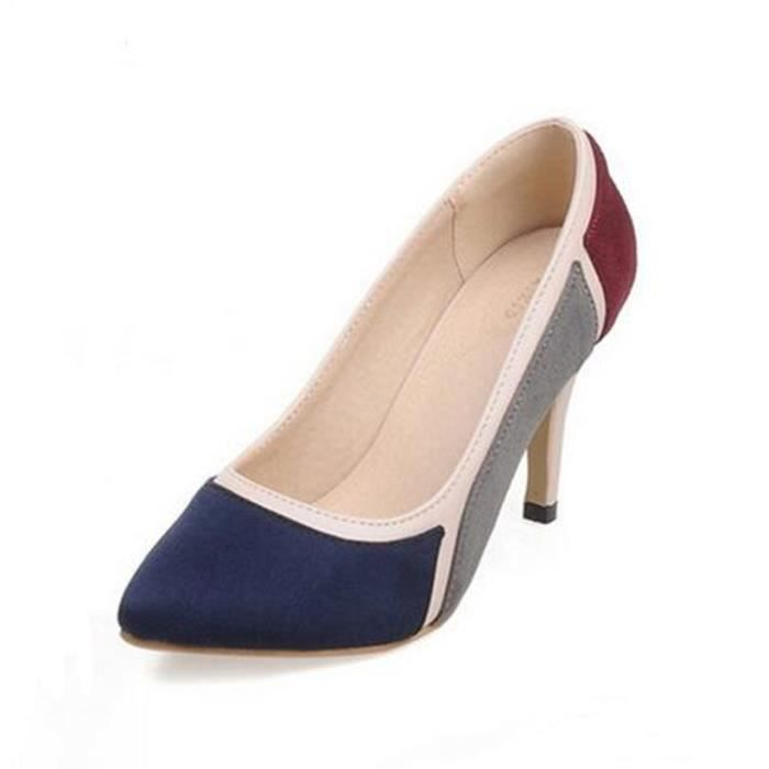 Chaussures à talon automne couleurs mélangées cuir nubuck femelle pointu