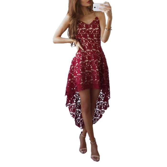 DÉté Habiller Irrégulier Dentelle Robe Midi Rétro Femmes Ligne Col Tomwell Soirée Sans A Mode Party Dress V Florale Manches Oqdz7