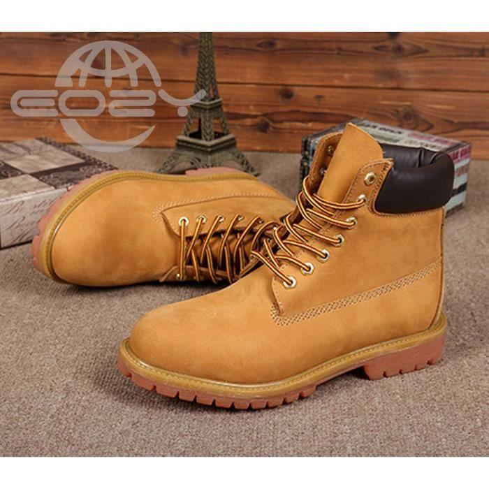 EOZY Mode Boots Bottine Homme Garçon Chaud Hiver Jaune