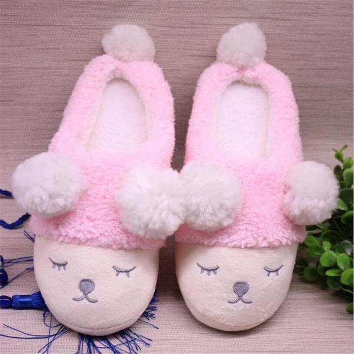 Petit mouton Femme Chaussons 2018 Hiver Confortable Chausson Durable Confortable Nouvelle Mode chaussures Taille 36-41 SUqRp