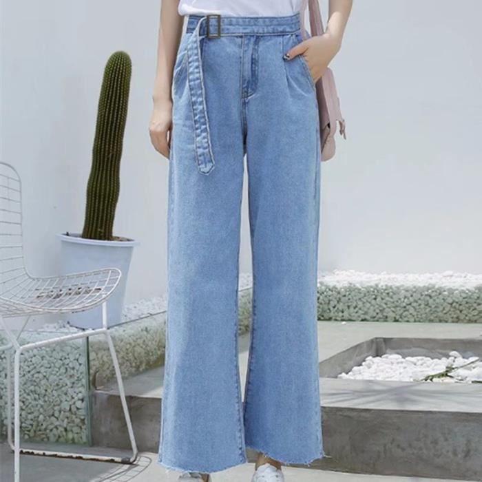 50ce739932559 Femmes Jeans Pantalon 2018 New College Style Solide Couleur Femme Pantalon  Taille Design Pantalon Large Leg Printemps Eté Denim