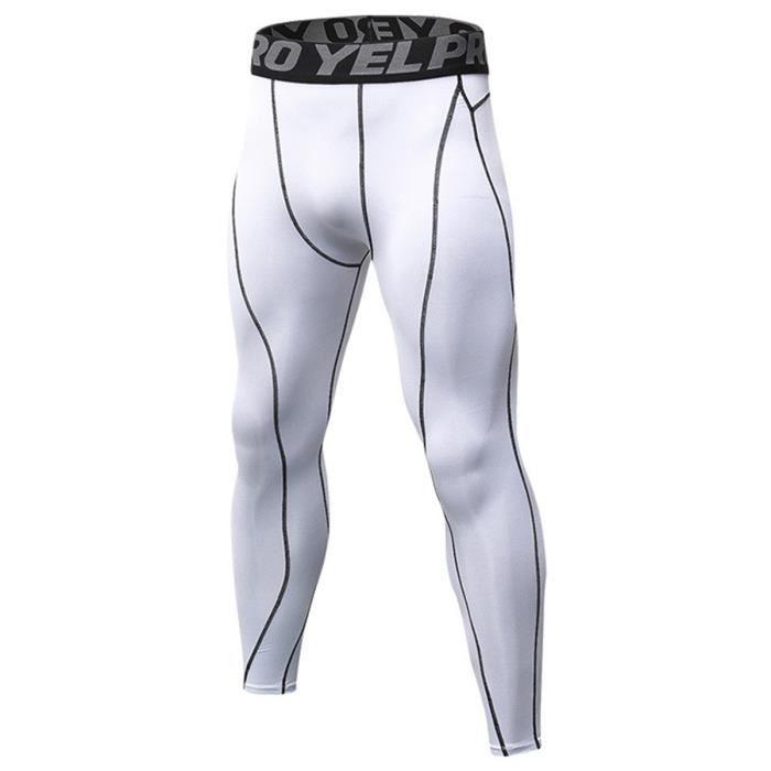 Sous Compression Jogging Pantalon Homme Blanc Leggin Vêtements De qxZR6w1