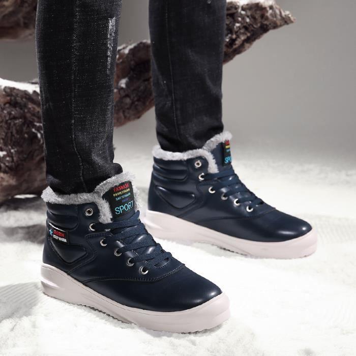 Bleu Chaussures Chaud Coton D'homme Neige Bottes Hiver De Ow0qU6