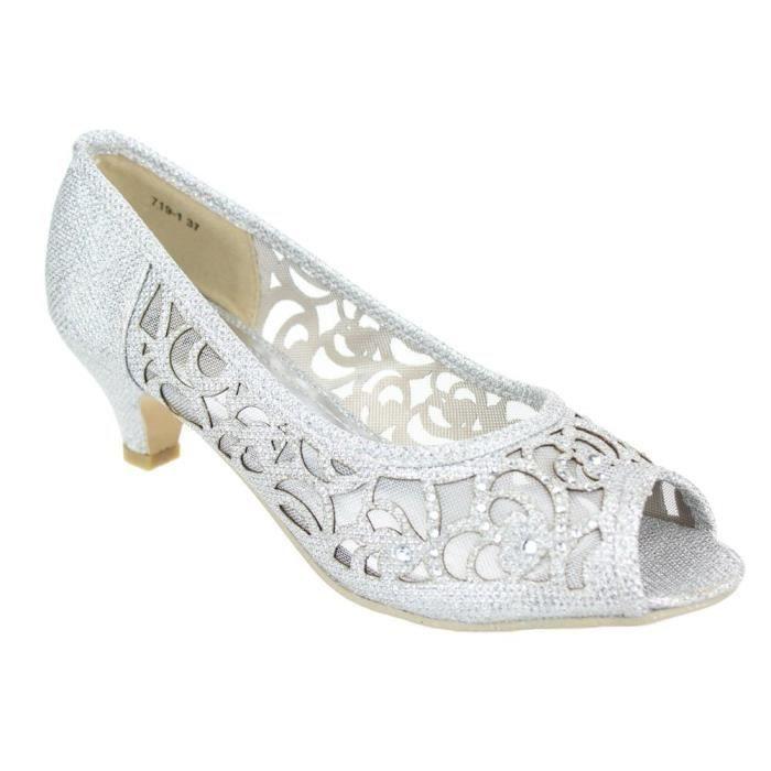 Peeptoe Kitten Soirée Femmes Chaussures À 3s52yx Taille De Talons Bas 38 Sandales Mariage Diamante Taille qrqAWYwEx4