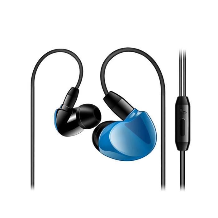 3.5mm Filaire Écouteurs Intra-auriculaires Avec Contrôle Du Volume Microphone Suspendus Casque De Sport