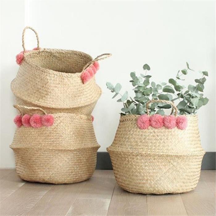 TEMPSA Ovale Panier Déco Stockage Fleur Plante Sac Vêtement Lavage Linge  Rangement dfdd966143d