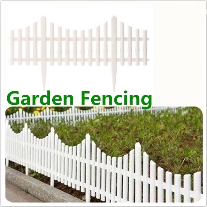 TEMPSA 12pcs barrière de Jardin Clôture Flexible plastique blanc ...