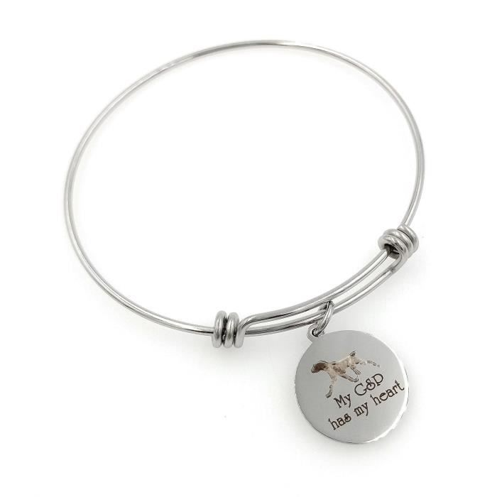Womens My Gsp, German Shorthaired Pointer Has My Heart Engraved Expandable Bangle Bracelet EL6J0