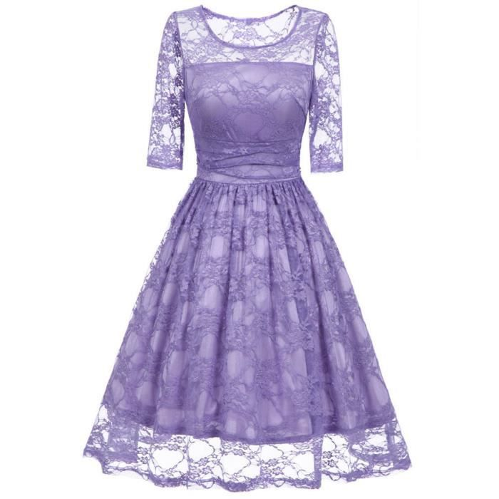 exquisgift®Vintage robe dentelle O cou mariage Bodycon cocktail party robe Casual VIOLET~XXL71128496PPA
