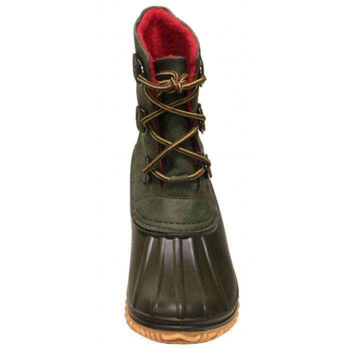 Nova-02 Duck Rubber Sole Lace Up Faux Leather Ankle Boots U976N Taille-37 xTIvJ1RfBB