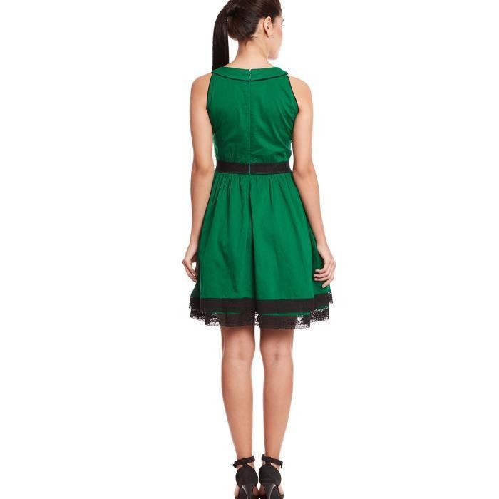 Ronde femmes cou double robe de couche en couleur verte Q0PT0 Taille-36