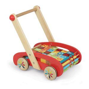 PORTEUR - POUSSEUR ABC Buggy Tatoo Chariot de marche avec 30 cubes en