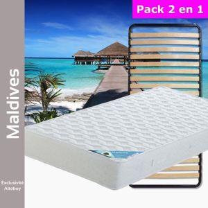 ENSEMBLE LITERIE Maldives - Pack Matelas + Lattes 90x200