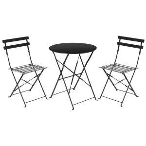 Ensemble table bistro metal noir - Achat / Vente salon de jardin ...