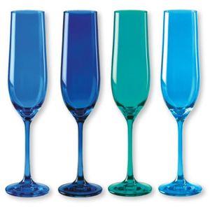 Verre à vin Flûtes à champagne en verre bleu 19cl - Lot de 4-