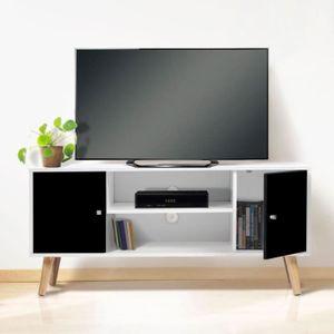 MEUBLE TV Meuble Télé EFFIE scandinave bois blanc et noir