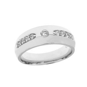 ALLIANCE - SOLITAIRE Bague Homme- Alliance Argent Fin 925-1000 Diamant