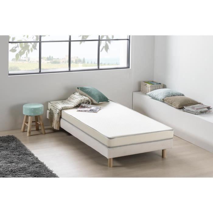Matelas mousse 90 x 190 - Confort ferme - Epaisseur 12 cm - Livré roulé - DEKO DREAM Kietoa