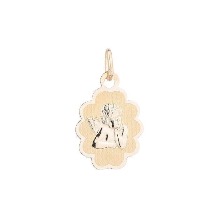 YSORA - Médaille Festonnée Ange en Or Jaune 9 Carats - Enfant