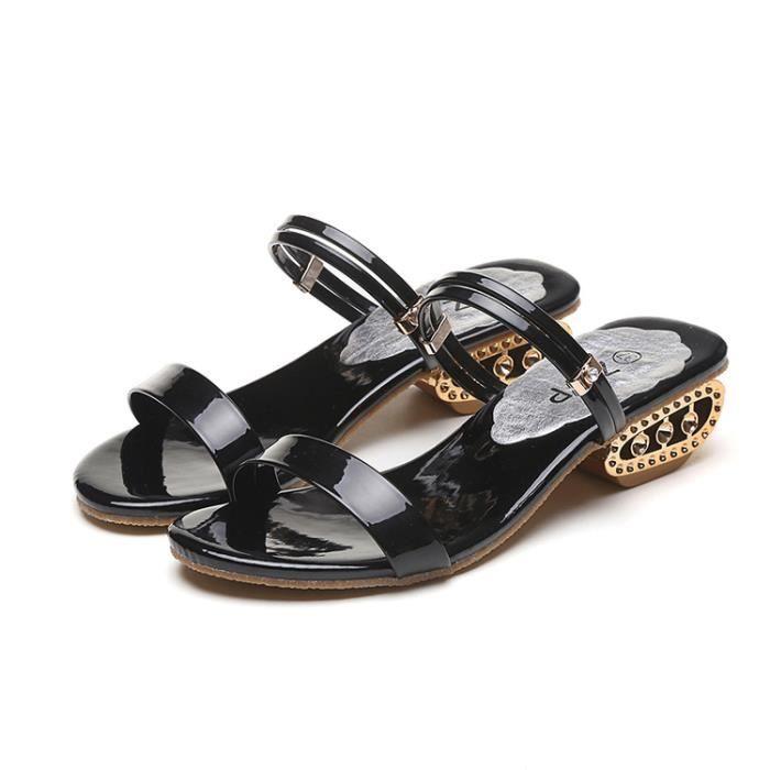 Sandales couleur solide Paillettes design Peep Toe haute Chaussures à talon mince 12236054 UTLQIR1ymw