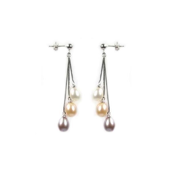 Idée Cadeau Noël - Boucles dOreilles et Perles de Culture Multicolor et Argent 925 - Blue Pearls