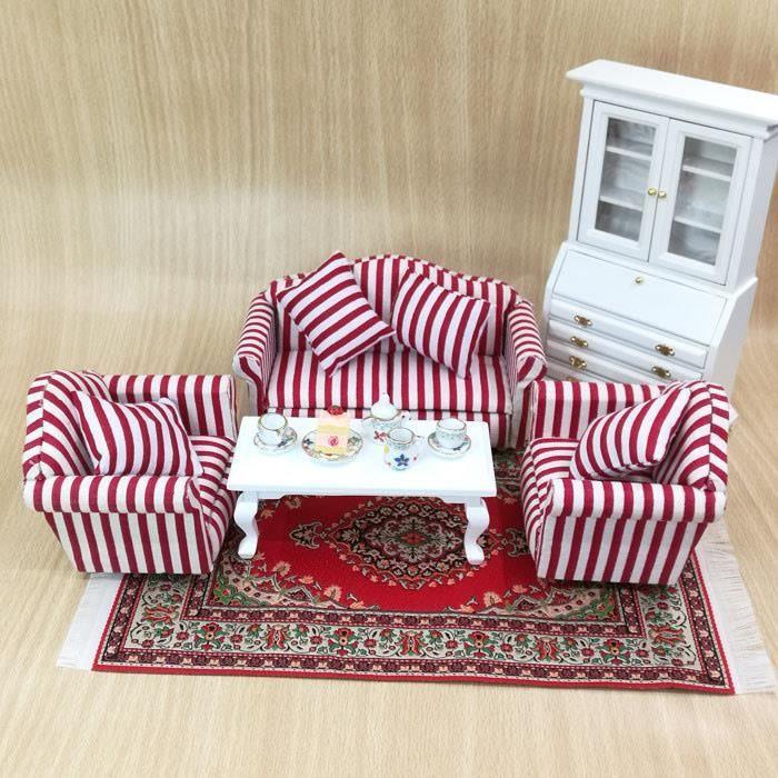 4 pièces ensemble de meuble Raie rouge 1:12 Dollhouse Modèle de ...