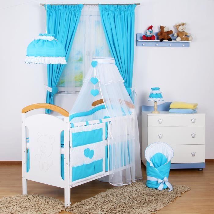 tour de lit bébé bébé 9 Set lit bébé 9 pcs ciel de lit , tour de lit, drap Bleu Turquoise  tour de lit bébé bébé 9