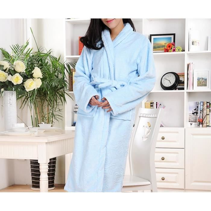 Robe de chambre luxe polaire femme bleu ciel motifs achat vente robe de chambre cdiscount - Robe de chambre femme courtelle ...