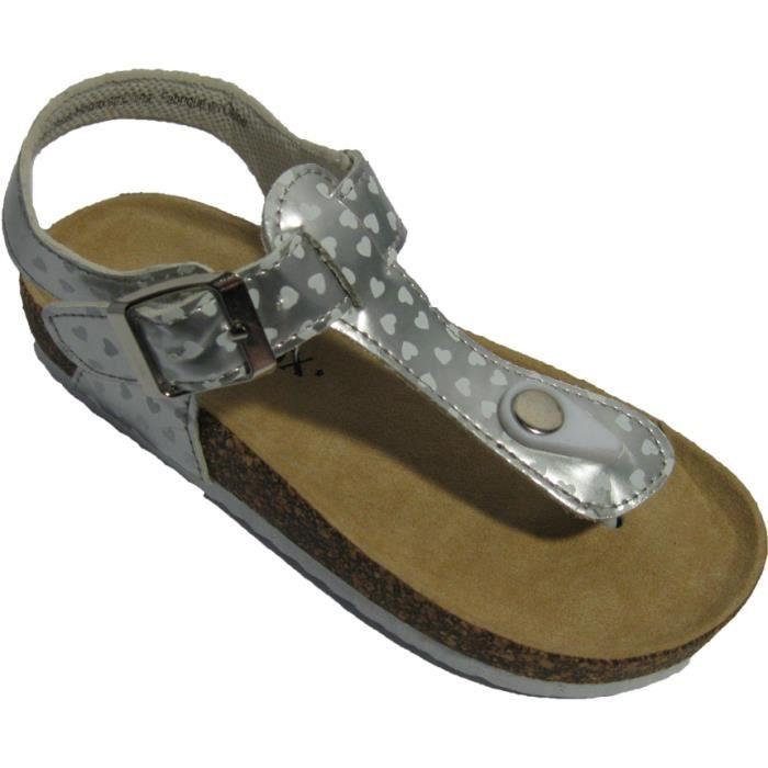 Sandales Tongs pour filles Argent