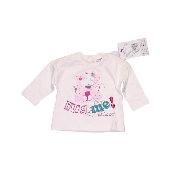 0cb97571e5ea5 T-shirt manches longues bébé fille CHICCO 3 mois blanc hiver - vêtement bébé  #1054033