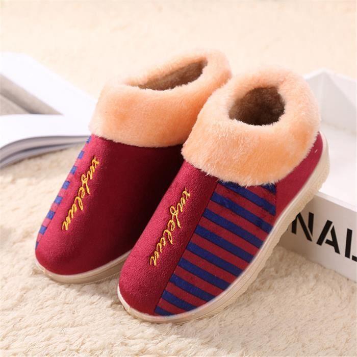 Femme Chausson Chaussons chaud Simple Chaussure Série à domicile Classique Durable Confortable Plus De Coton Taille 36-40 oc0c3UOIo