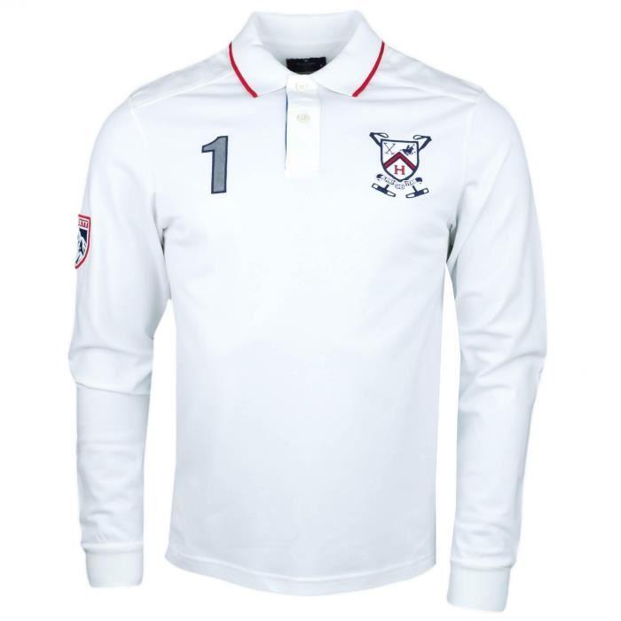 Polo manches longues Hackett blanc en piqué snow polo slim fit pour homme -  Couleur  Blanc - Taille  XXL 0af567289be6