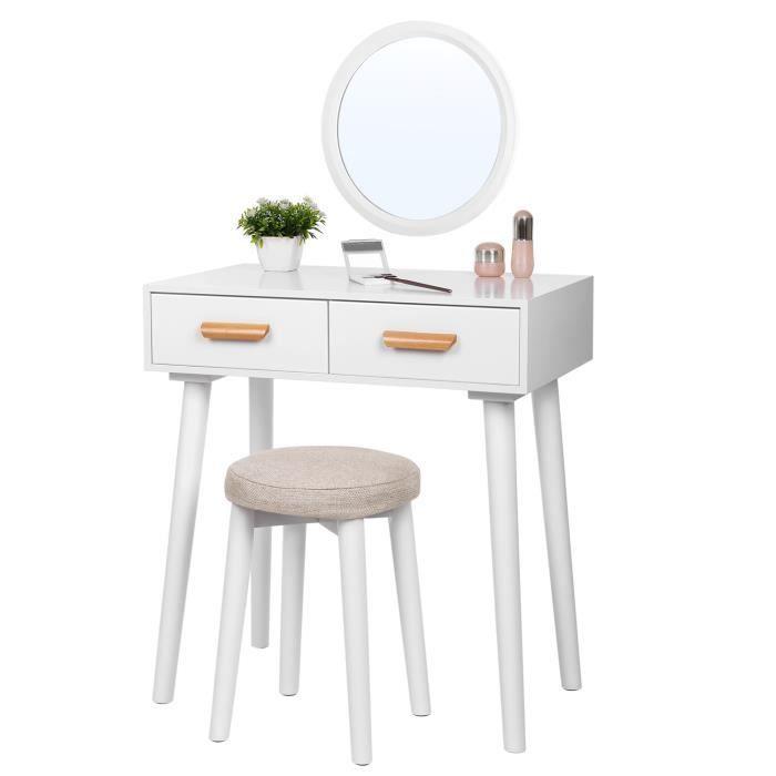 Songmics coiffeuse moderne table de maquillage avec miroir mural tabouret et 2 tiroirs en - Meuble coiffeuse moderne ...