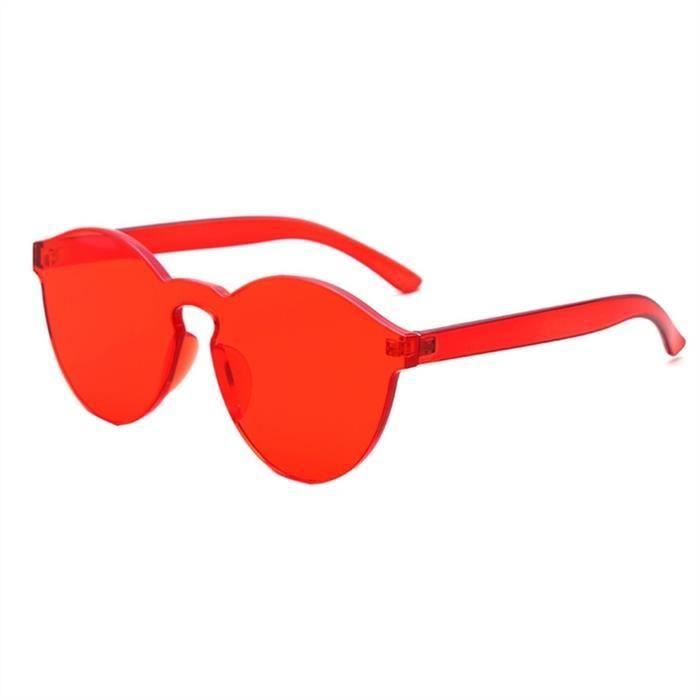 Couleur bonbons Transparent Lunettes de soleil pour hommes et femmes, Rouge