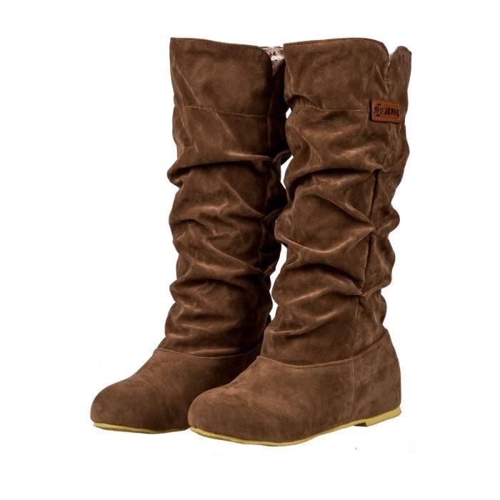 Nouvelles Bottes chaudes de mi mollet a la mode Casual hautes bottes au genou brun 39